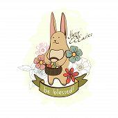 Vector easter cartoon bunny with eggs