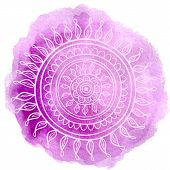 picture of violets  - Mandala on violet watercolor background - JPG
