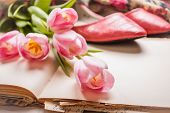 Pink Tulips And Blank Book With Women`s Shoes Over White Wooden Table. Closeup