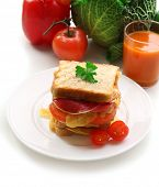 Big sandwich with cheese and vegetables on plate near glass of juice on fresh vegetables on background