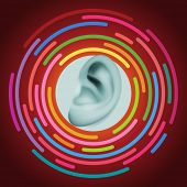 Ear and sound, eps10 vector
