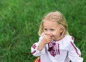 foto of national costume  - little blonde girl in ukrainian national costume smiling  - JPG