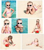 Smiling Cute Little Girl On Beach Vacation