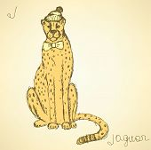 Sketch Fancy Jaguar In Vintage Style