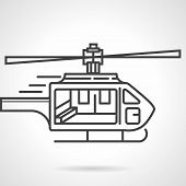 Flat line colored icon for emergency helicopter