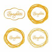 Set of Realistic Twisted Spaghetti Pasta Circle Frame  logo emblem