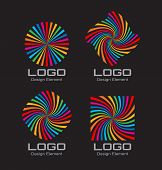 stock photo of hypnotizing  - Set of Colorful Bright Rainbow Spiral Logo on black background - JPG