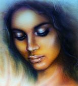 picture of airbrush  - A beautiful airbrush portrait of a young indian woman with closed eyes meditating upon a spiraling sea seashell - JPG