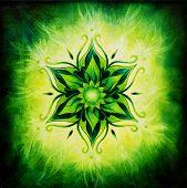 Flower Mandala On A Green Background