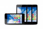Four Touchscreen Smartphone With Application Icons