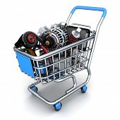 picture of cart  - cart and Many auto parts  - JPG
