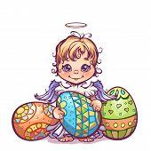 Vector illustration of cute angel ant set Easter eggs