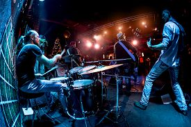 picture of string instrument  - Band performs on stage - JPG