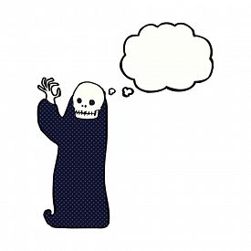 stock photo of ghoul  - cartoon waving halloween ghoul with thought bubble - JPG