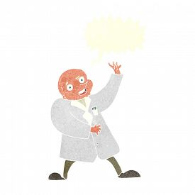 stock photo of mad scientist  - cartoon mad scientist with speech bubble - JPG
