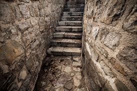 pic of stairway  - Beautiful view of ancient stone stairway at castle - JPG