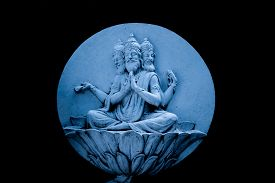 foto of brahma  - A relief of Brahma the Hindu god of creation - JPG