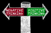 pic of positive negative  - Opposite arrows with Negative versus Positive Thinking. Hand drawing with chalk on blackboard. Choice conceptual image - JPG
