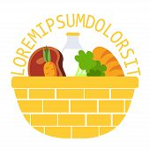 pic of hillbilly  - Wicker food basket flat vector illustration icon with milk - JPG