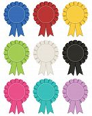 stock photo of rosette  - collection of rosette decorations 9 variations isolated on white - JPG