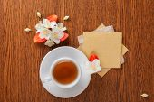 picture of jasmine  - white cup of green tea - JPG