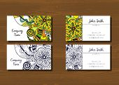 Постер, плакат: Business cards with doodle pattern
