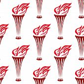 pic of torches  - Seamless background pattern of a red flaming torches in a holder in square format for wallpaper - JPG