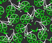 stock photo of bicycle gear  - Seamless vector pattern with decorative floral bicycles - JPG