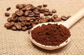 picture of coffee grounds  - Ground coffee on wooden scoop and coffee beans in background coffee grains - JPG