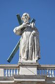 picture of plinth  - Statue of an apostle on the top of Saint Peter Basilica facade - JPG