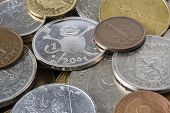 pic of copper coins  - old European coins before the introduction of the Euro  - JPG
