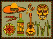 foto of chili peppers  - Vector set of traditional mexican symbols - JPG