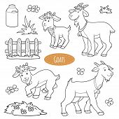 stock photo of cade  - Set of cute farm animals and objects vector family goats - JPG