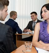 picture of interview  - Job interview. Many business people are passing interview at the office ** Note: Shallow depth of field - JPG