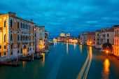 image of mary  - Grand canal and The Basilica of St Mary of Health  or Basilica di Santa Maria della Salute at night in Venice - JPG