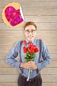 picture of bunch roses  - Geeky hipster holding a bunch of roses against wooden planks - JPG