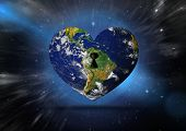 stock photo of outer  - Heart shaped earth against outer space - JPG