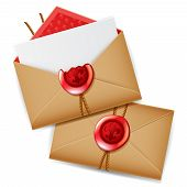 image of wax seal  - Private message with red wax seal isolated realistic secret letter mail 