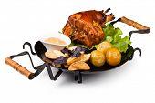 foto of roasted pork  - Appetizing roast pork knuckle on cutting board - JPG