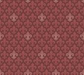 stock photo of marsala  - Marsala color Fleur De Lis classical wallpaper - JPG