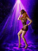 stock photo of mini dress  - Nightclub Dancing Girl Woman Artist in Night Club Dancer Posing in Hat Shine Mini Dress Laser Lighting Illumination - JPG