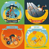 foto of composition  - Extreme track cycling and city road bike tour 4 flat icons composition banner abstract isolated vector illustration - JPG