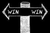 image of win  - Opposite arrows with Win-Win Solution. Hand drawing with chalk on blackboard. Choice conceptual image - JPG