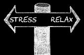 image of opposites  - Opposite arrows with Stress versus Relax. Hand drawing with chalk on blackboard. Choice conceptual image - JPG