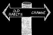 foto of  habits  - Opposite arrows with Old Habits versus Change. Hand drawing with chalk on blackboard. Choice conceptual image - JPG