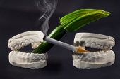 picture of mouth  - A cigarette in his mouth that harms the health of our teeth - JPG