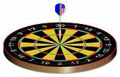 foto of bullseye  - A dart in the bullseye of a dartsboard - JPG
