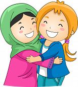 foto of muslim  - Illustration of a Muslim and a Non Muslim Girl Hugging Each Other - JPG