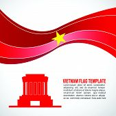 image of mausoleum  - Abstract Vietnam flag wave and Ho Chi Minh  - JPG