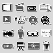 picture of grayscale  - movie and cinema vector grayscale stickers set eps10 - JPG